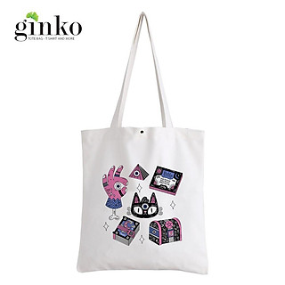 Túi Vải Tote GINKO Kiểu Basic Nút Bấm In Hình Mysterious G202