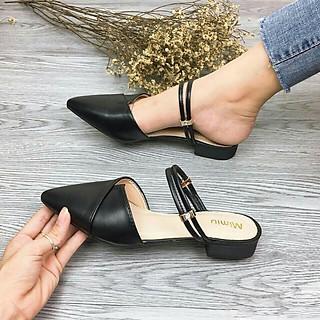 A6 - Sandal nữ, sandal mũi nhọn quai đôi, da mềm