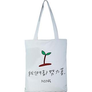 Túi Vải Đeo Vai Tote Bag Chồi Non Trắng XinhStore