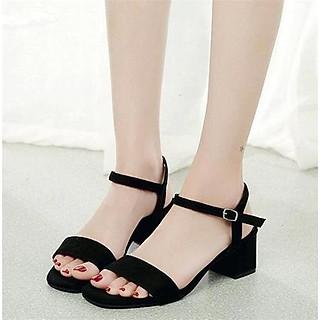 Giày cao gót 5 phân chất da lộn đế vuông màu đen quai ngang bản lớn hở mũi nữ tính