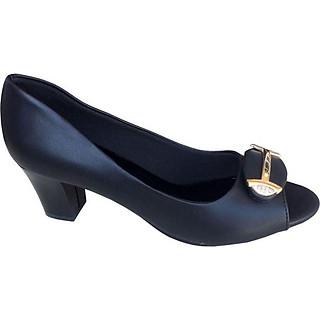Giày cao gót nữ đen hở mũi đế vuông cao 5cm TH - CG026