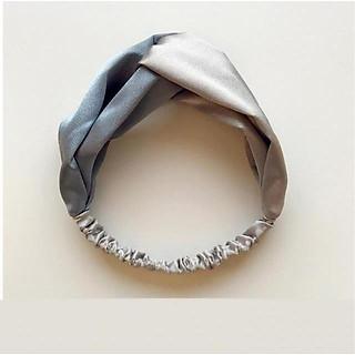 Băng đô turban nữ bản to phối màu ghi và trắng xám TB01C