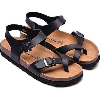 Giày Sandal Xỏ Ngón Da Pu Đen Đế Trấu HuuCuong
