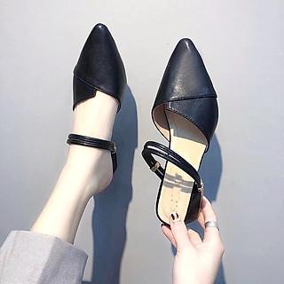 Giày nữ dáng sục mũi nhọn đế vuông 2cm màu đen C18 đi được nhiều