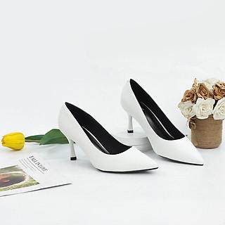 Giày Cao Gót 7cm Basic Mũi Nhọn Êm Chân Màu Đen X457