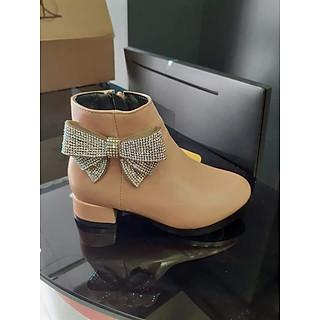 Giày Boots Nữ Đính Nơ Lấp Lánh - GBDN