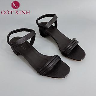 Sandal Cao Gót Gót Xinh GX234 5cm Da Mềm Hai Quai Đế Trụ Vuông