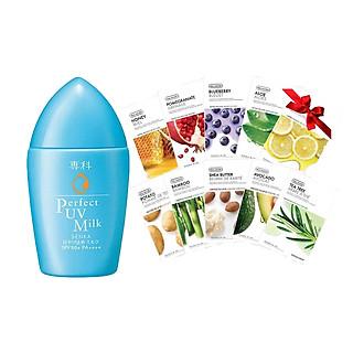 Kem Chống Nắng Dạng Sữa Senka Perfect UV Milk 40ml 14095 tặng Mặt nạ dưỡng da The Face Shop Real Nature (1 miếng)