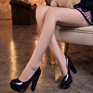 Giày cao gót da  bóng đúp trước 2cm gót trụ cao 10cm màu đen C25n