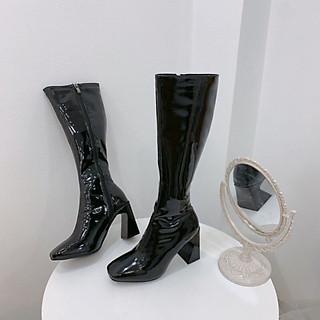 Bốt Boots Đùi DA BÓNG Khoá Cạnh Gót Vát 7p Cao Cấp  (XC60-1) Kèm Tất/Vớ Da Chân