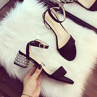 Giày Sandal Nữ Đẹp Đế Vuông 5 Phân Hở Mũi Da Nhung Cao Cấp Quai Cài Phong Cách Thời Trang Hàn Quốc Sang Trọng CTS-CG