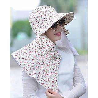 Mũ chống nắng 2 lớp có khẩu trang chống tia UV ( Tặng bao tay len chống nắng )