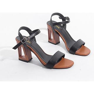 Giày Sandal Đế Vuông 7cm Gót Rỗng Quai Ngang Màu Đen Pixie X441