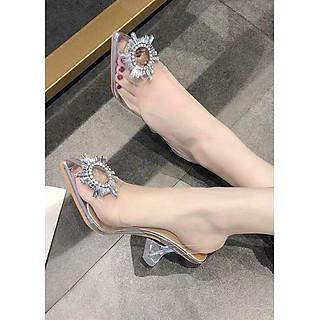 Giày cao gót hoa đá pha lê trong suốt - AT044