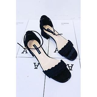 Giày Sandal Cao Gót Nữ Gót Vuông Quai Sóng