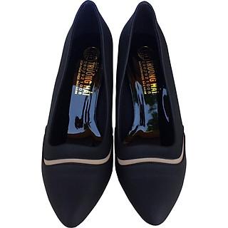 Giày cao gót nữ cao 7cm gót  vuông da mềm màu đen cao cấp Trường Hải CG123