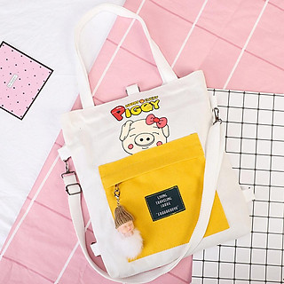 Túi Tote Vải Đeo Chéo , Đeo Vai Hàn Quốc Hình PIGGY Siêu Đáng Yêu Tiện Lợi Đi Học Đi Chơi - TH020
