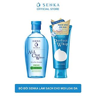 Bộ đôi Senka làm sạch cho mọi loại da (Nước Tẩy Trang Senka Fresh 230ml + SRM Tạo Bọt Senka Perfect Whip 120g)