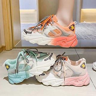Giày thể thao nữ - giày sneaker nữ độn đế 2 dây gót màu siêu đẹp