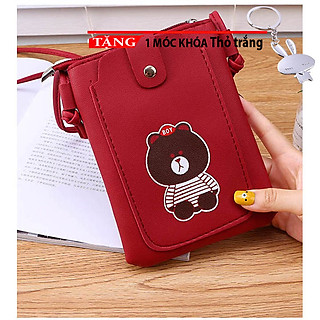 Túi đeo chéo nữ mini đựng điện thoại đeo chéo thời trang dọc nắp hình gấu nâu ngộ nghĩnh NK5 Tặng móc khóa thỏ trắng