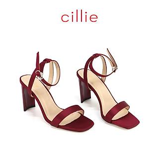 Giày sandal nữ quai ngang cao 8cm Cillie 1106