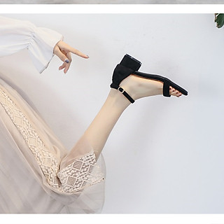 Giày cao gót nữ 5 phân đế vuông quai ngang bít gót hở mũi