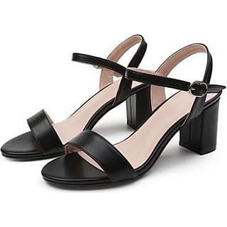 Giày Sandal Nữ Đẹp Da Lì Hở Mũi Quai Hậu Đế Vuông 7P Bản Ngang Công Sở Phong Cách Hàn Quốc.