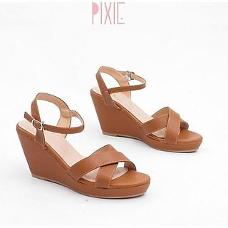 Giày Sandal Đế Xuồng 7cm Quai Chéo Màu Nâu Pixie P207