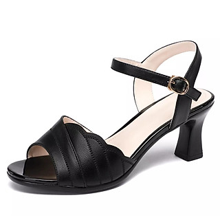 Giày sandan gót nhỏ 7f quai gợn sóng