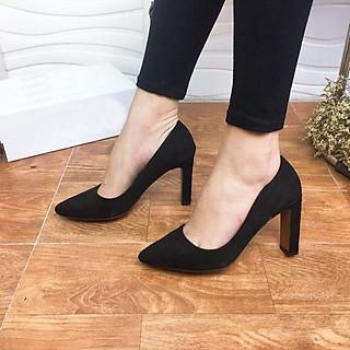 Giày Cao gót da lộn màu đen