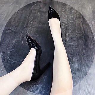 Giày cao gót da bóng mũi nhọn gót trụ nhỏ - 8P