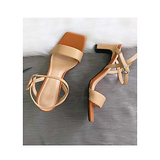 Giày Sandal Cao Gót- SanDal Nữ Mũi Vuông Quai Ngang Gót 7cm Siêu Xinh Bền PN11018