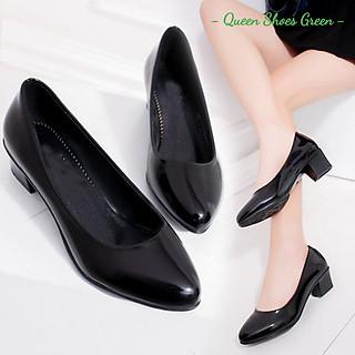 Giày búp bê nữ công sở da bóng cao cấp gót vuông 4 phân mũi nhọn da mềm hàng VNXK màu đen đế cao su đúc siêu mềm tôn dáng lót êm ái size 36 đến 40 - Cam kết hàng chất lượng - Trơn bóng 4 phân