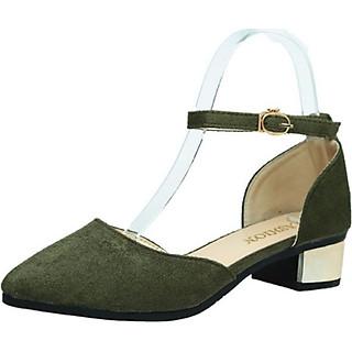 Giày cao gót nữ da lộn LAHstore, thiết kế gót vuông đế 3 phân, thời trang trẻ, phong cách Hàn Quốc
