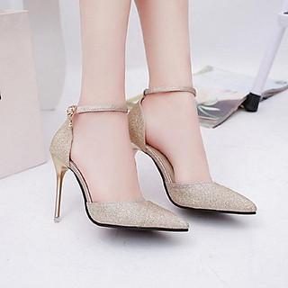 Giày Nữ, Giày Cao Gót Nữ Thời Trang Đắp Chéo Mũi Nhọn Phối Kim Tuyến Gót Nhọn 9 Phân, 9 Cm Phong Cách Hàn Quốc Màu Vàng Ánh Kim Đẹp YNPN95-CG0118