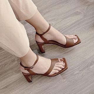 Sandal/ Giày Cao Gót Nữ Đẹp Xỏ Ngón Quai Chéo Cách Điệu Đế Cao 5 Phân Phong Cách Hàn Quốc.