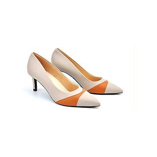 Giày Cao Gót 7P Gót Nhọn Mũi Phối Viền Cam Thời Trang Chất Da Mềm Siêu Đẹp PABNO PN11008