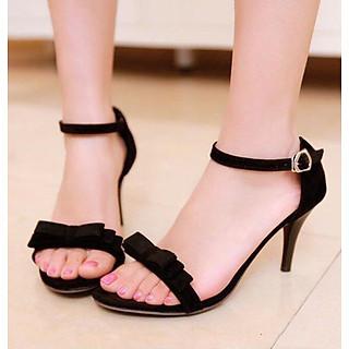 Giày Sandal Cao Gót Mũi Nhọn Nữ Màu Đen Đính Nơ Gót Nhọn Cao 7p CTQ8-02