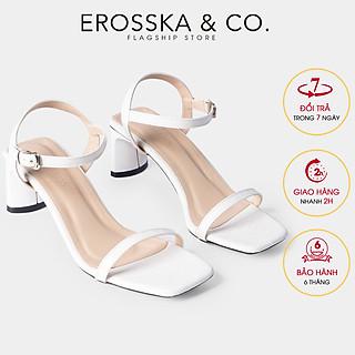 Giày sandal cao gót Erosska thời trang mũi vuông phối dây quai mảnh cao 5cm EB025