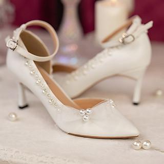 Giày cưới Nghé Art cao gót nơ ngọc trai 294