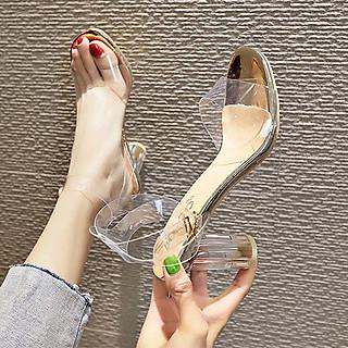 Giày cao gót nữ đẹp 7 phân dự tiệc sang trọng quai trong đế tròn hở đầu cao cấp