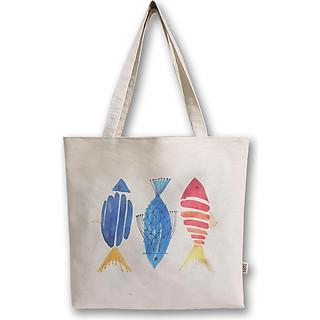 Túi vải may Covi - túi tote đeo vai in hình 3 con cá vải canvas
