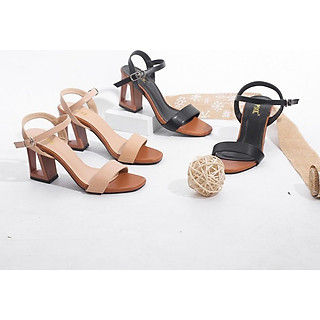 Giày Sandal Đế Vuông 7cm Gót Rỗng Quai Ngang Pixie X441