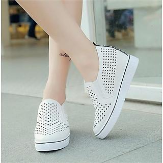 Giày Sneaker Nữ Da PU Độn Đế 6cm Mã H31 ảnh thật