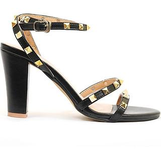 Giày sandal nữ cao gót, cao 9CM, da Microfiber nhập khẩu cao cấp êm ái,đính hạt kim loại màu sang trọng . Mũi tròn, gót trụ : SD.V07.9F