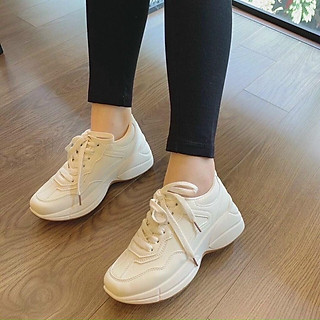 Giày sneakers nữ, giầy thể thao nữ độn đế 5p màu trắng kem dáng gọn chân hot trend