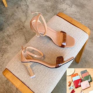 Giày Cao Gót Nữ Đẹp Bản Ngang Mica Bít Gót Đế Nhọn Cao 7 Cm Phong Cách Hàn Quốc ( Tặng ví nữ ngắn cao cấp thời trang mẫu ngẫu nhiên).