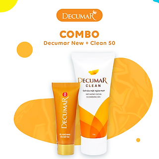 Bộ sản phẩm hỗ trợ trị mụn Decumar New (gồm 1 Gel bôi mụn Decumar New và 1 Gel rửa mặt ngừa mụn Decumar Clean 50g)