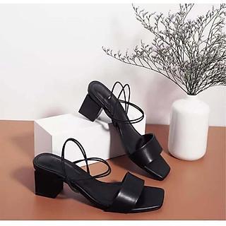 Giày cao gót nữ đế vuông 5cm quai mảnh 2 dây - Giày xăng đan cao gót dáng chuẩn công sở chất da mềm mại mẫu mới 2020