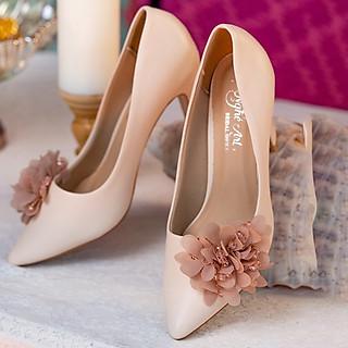 Giày cưới Nghé Art gót vuông màu nude hoa voan 296